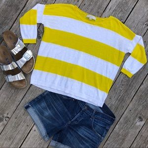 Loft white and yellow stripe lightweight sweater